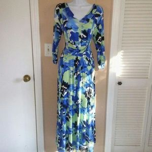 LIZ LANGE Blue floral Maxi Dress Size Small